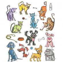 Tim Holtz® Alterations   Sizzix® Framelits™ Die Set - Mini Crazy Cats & Dogs