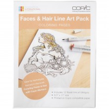 "Copic Coloring Foundations Collection: ""Faces & Hair"" Line Art Pack"